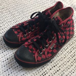 Vans 6.5 Red & Black Checkerboard High Top Shoes